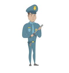 Young serious hispanic policeman with baton vector