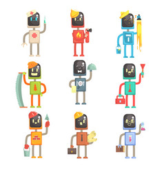 cute cartoon robots in various professions set of vector image