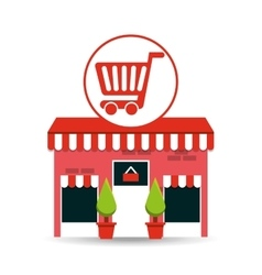 cute store shopping cart graphic vector image vector image