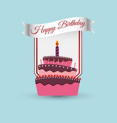 Happy birthday cake decoration poster vector