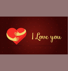 i love you lettering hearts on red background vector image
