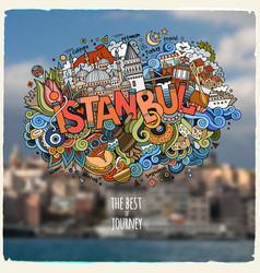 istanbul hand lettering and doodles elements and vector image vector image