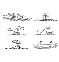 beach design elements vector image vector image