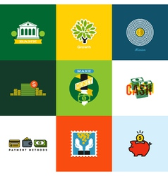 Creative icons of wallet banking cash growth coins vector image