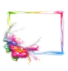 Rainbow frame with flower on white vector