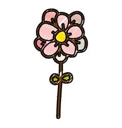 scribble flower cartoon vector image vector image