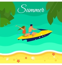 Seascape with Couple on Yellow Jet Ski vector image vector image