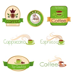 set of logos for coffee green vector image vector image