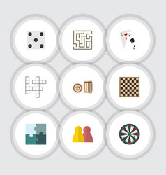 flat icon play set of labyrinth jigsaw people vector image vector image