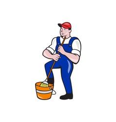 Janitor Cleaner Holding Mop Bucket Cartoon vector image
