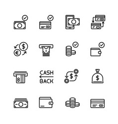 simple set of money and financial line vector image vector image