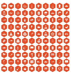 100 exotic animals icons hexagon orange vector image