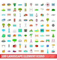 100 landscape element icons set cartoon style vector image