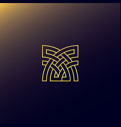 Abstract cross logo with golden color concept vector