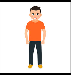 Angry boy in spring clothes vector