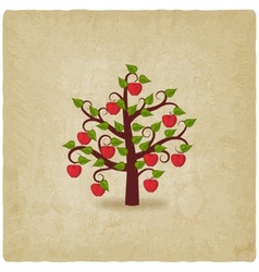 apple tree old background vector image