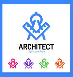 Architect letter a logo - ruler vector