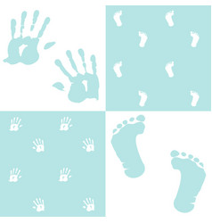 Baby boy handprint footprint set vector