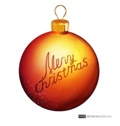 Background with yellow christmas ball vector image