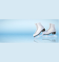 Banner template of ice skating rink vector