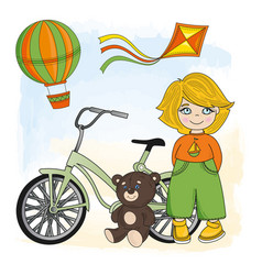 Bike boy children game cartoon vector