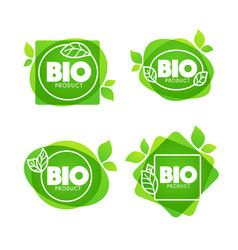 Bio product doodle organic leaves emblems vector