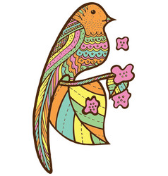 bird on branch with leaves and flowers vector image
