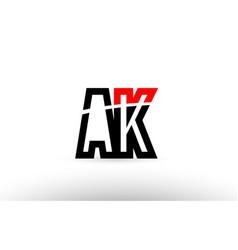 black white alphabet letter ak a k logo icon vector image