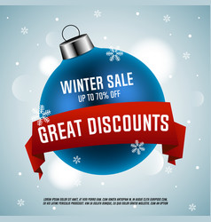 blue christmas ball winter sale vector image