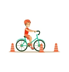 Boy Riding Bicycle Kid Practicing Different vector image