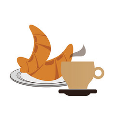 Breakfast with croissant and cup coffee vector