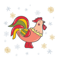 bright decorative rooster with snowflakes vector image