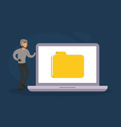 burglar hacking computer and stealing personal vector image