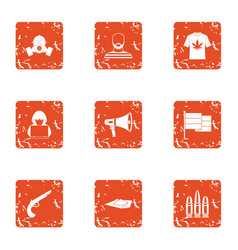 Burglary icons set grunge style vector