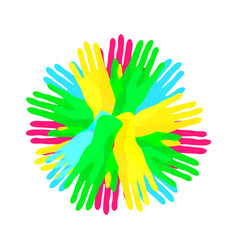 circle from simple colorful overlapping hands vector image