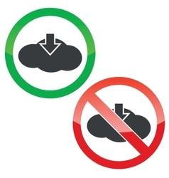 Cloud download permission signs set vector image