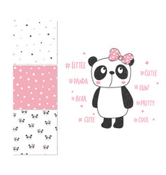 cute little panda surface design and 3 seamless vector image