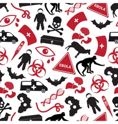 ebola disease red and black icons pattern eps10 vector image