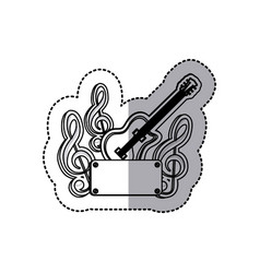 Emblem electric guitar with music symbol icon vector