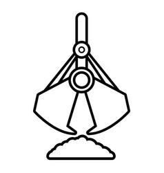 excavator bucket icon outline style vector image