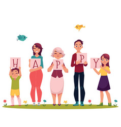 family members holding letters of the word happy vector image