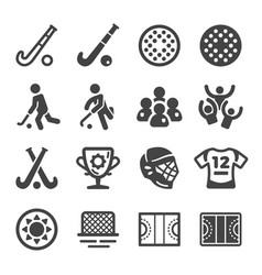 field hockey icon set vector image