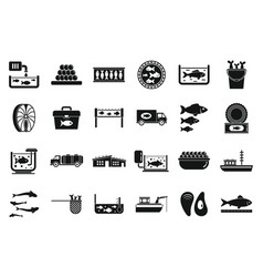 Fish farm icons set simple style vector