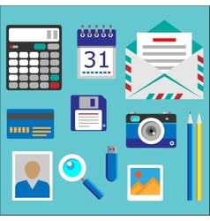 Flat designed office icons set vector