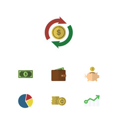 flat icon gain set of greenback money box vector image vector image