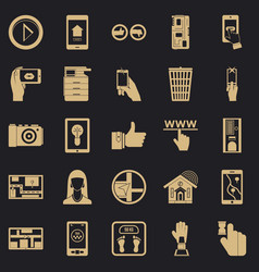 Flat screen icons set simple style vector