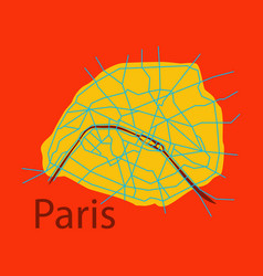 Flat urban city map of paris france vector