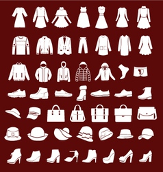 flat women men set clothing shoes and hats vector image