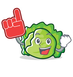 Foam finger lettuce character mascot style vector