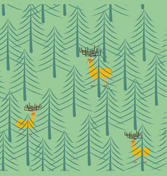 forest and deer seamless pattern trees and elk vector image
